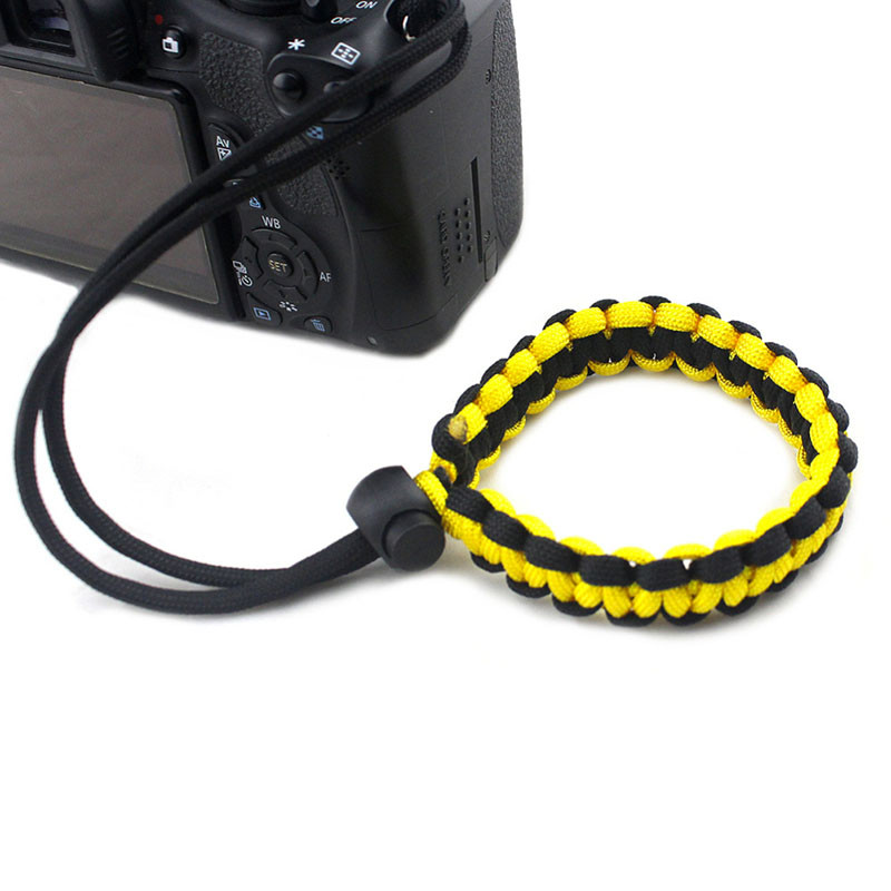 Dragonne-appareil-photo-Paracord-Tressee-mon-materiel-photo-jaune-noir